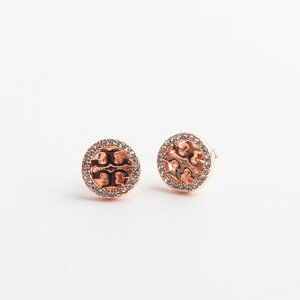 Tory Burch Rose Gold Round Full Drill Earrings